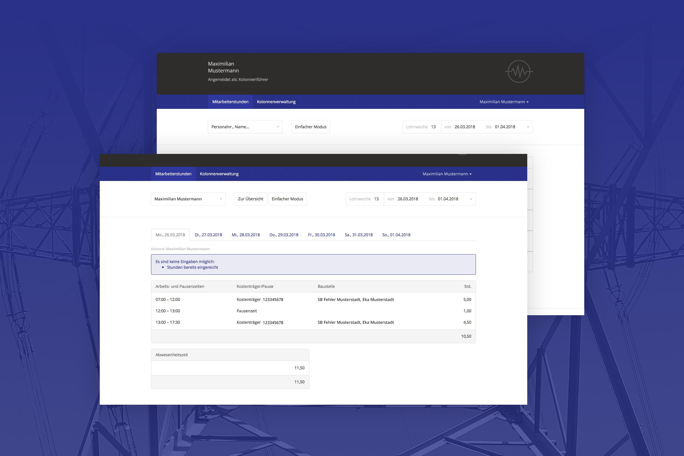 RIS Web- & Software Development - Projekt - Elektro Freitag Lohn- und Zeiterfassung