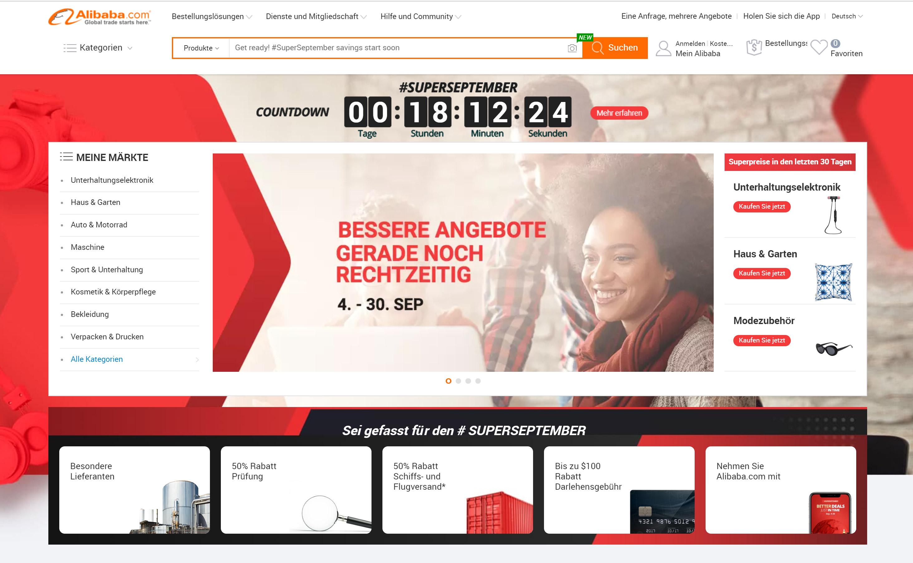 RIS Web- & Software Development - Alibaba - Eintrittskarte in den asiatischen Markt? Landingpage von alibaba.com