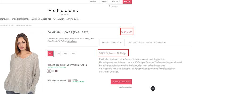 RIS Web- & Software Development - Unique Selling Propositions (USP) - Beispiel Mahagony Cashmere